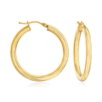 Italian 18kt Yellow Gold Hoop Earrings