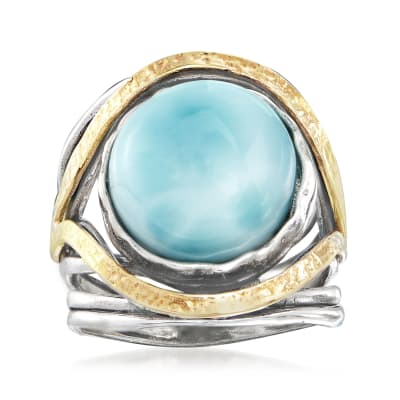 Larimar Cabochon Ring in Sterling Silver with 14kt Yellow Gold