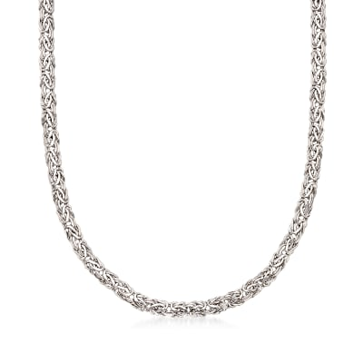 14kt White Gold Flat Byzantine Necklace