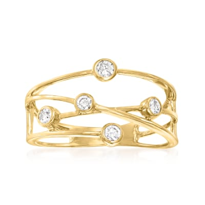 .25 ct. t.w. Bezel-Set Diamond Crisscross Ring in 14kt Yellow Gold