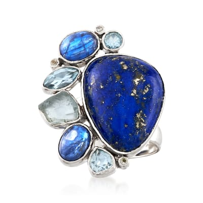 Lapis and 3.00 ct. t.w. Kyanite Ring with 1.96 ct. t.w. Sky Blue Topaz in Sterling Silver
