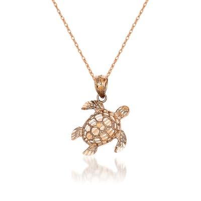 14kt Rose Gold Turtle Pendant Necklace