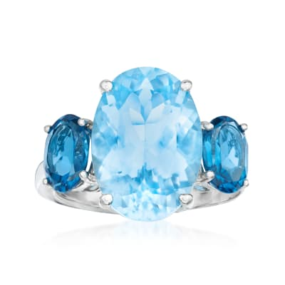 9.75 ct. t.w. London and Sky Blue Topaz Ring in Sterling Silver