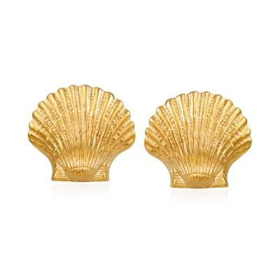 14kt Yellow Gold Seashell Motif Earrings