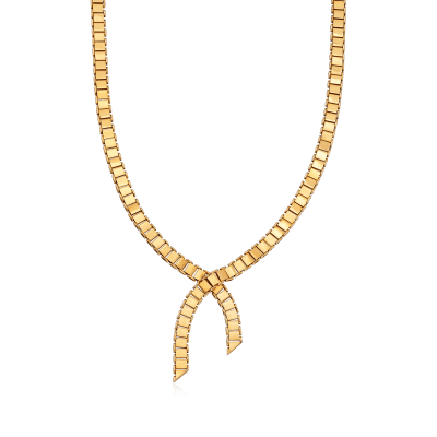 C. 1960 Vintage 18kt Yellow Gold Lariat Necklace