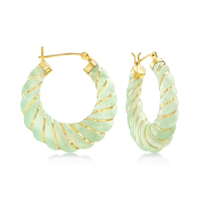 Carved Jade Hoop Earrings with 14kt Yellow Gold