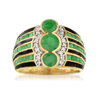 1.80 ct. t.w. Emerald and .10 ct. t.w. White Zircon Ring with Black Enamel in 18kt Gold Over Sterling