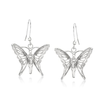 Italian Sterling Silver Butterfly Drop Earrings