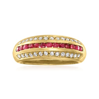 C. 1980 Vintage .40 ct. t.w. Ruby and .35 ct. t.w. Diamond Ring in 18kt Yellow Gold