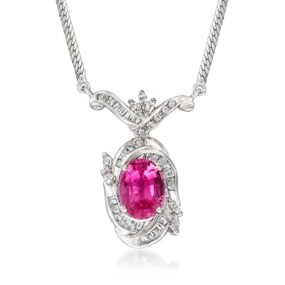 C. 1980 Vintage 3.96 Carat Pink Tourmaline and .83 ct. t.w. Diamond Necklace in Platinum