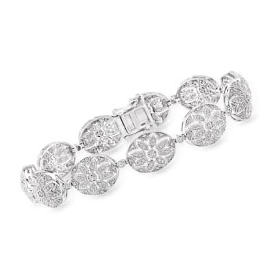 1.01 ct. t.w. Diamond Floral Bracelet in Sterling Silver