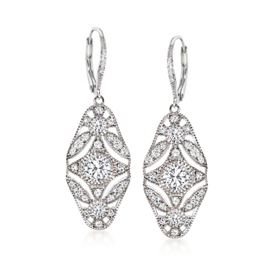 3.20 ct. t.w. CZ Openwork Drop Earrings in Sterling Silver