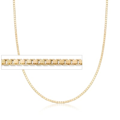 1.4mm 14kt Yellow Gold Box Chain Necklace