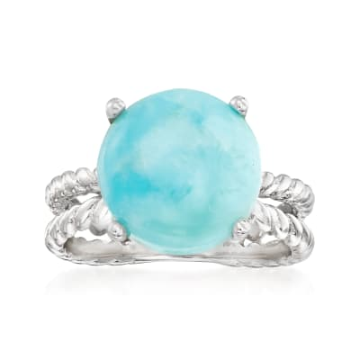 Larimar Double-Band Ring in Sterling Silver