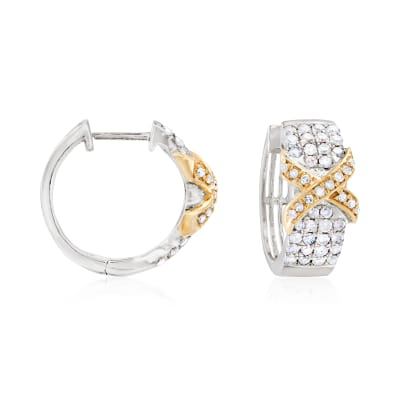 1.00 ct. t.w. Diamond X Hoop Earrings in Sterling Silver and 14kt Yellow Gold