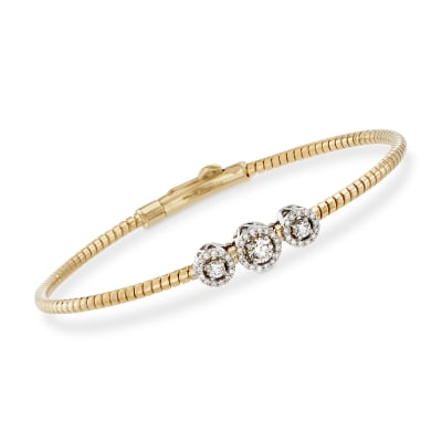 Simon G. .22 ct. t.w. Diamond Three-Station Bangle Bracelet in 18kt Yellow Gold