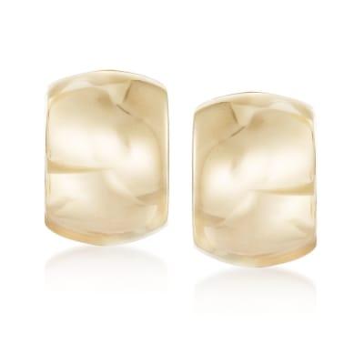 Italian 18kt Yellow Gold Wide Polished Hoop Earrings