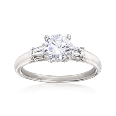 .24 ct. t.w. Baguette Diamond Engagement Ring Setting in 14kt White Gold