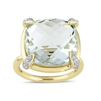 12.00 Carat Prasiolite and .13 ct. t.w. White Sapphire Ring in 14kt Yellow Gold