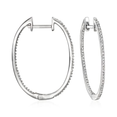 .25 ct. t.w. Diamond Inside-Outside Hoop Earrings in Sterling Silver