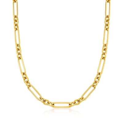 Italian 18kt Gold Over Sterling Alternating Paper Clip Link Necklace