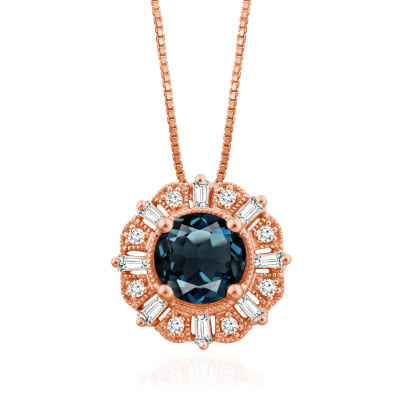 1.00 Carat London Blue Topaz Pendant Necklace with .12 ct. t.w. Diamonds in 14kt Rose Gold