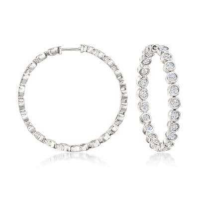 3.00 ct. t.w. Bezel-Set Diamond Inside-Outside Hoop Earrings in Sterling Silver