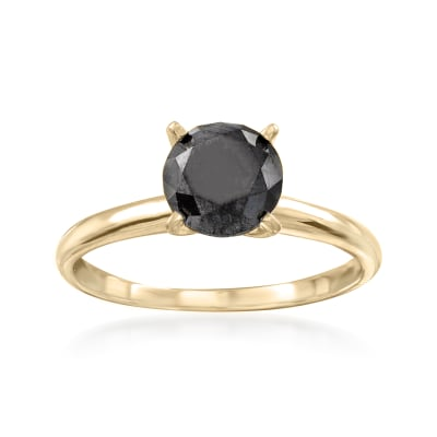 1.00 Carat Black Diamond Solitaire Ring in 14kt Yellow Gold
