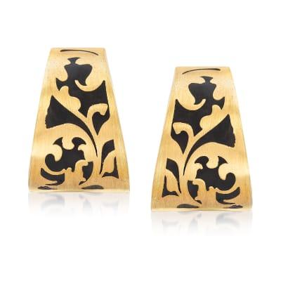 Italian 14kt Yellow Gold and Black Enamel Earrings