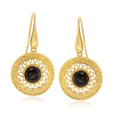 Italian 8mm Black Onyx Openwork Drop Earrings in 18kt Gold Over Sterling