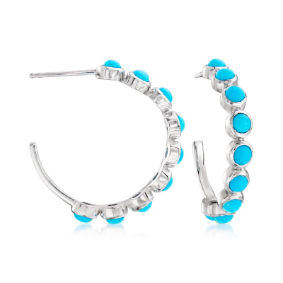 Turquoise C-Hoop Earrings in Sterling Silver