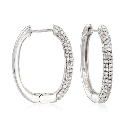 1.00 ct. t.w. Pave Diamond Hoop Earrings in Sterling Silver
