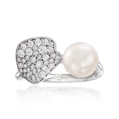 "Mikimoto ""Petal"" 7.5mm A+ Cultured Akoya Pearl and .46 ct. t.w. Diamond Ring in 18kt White Gold"