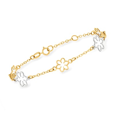 Italian 14kt Two-Tone Gold Flower Bracelet