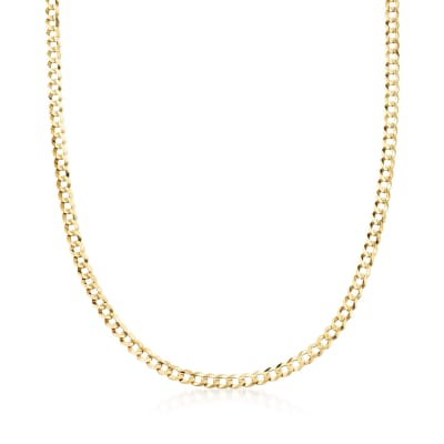 Men's 4.7mm 14kt Yellow Gold Faceted Curb-Link Chain Necklace