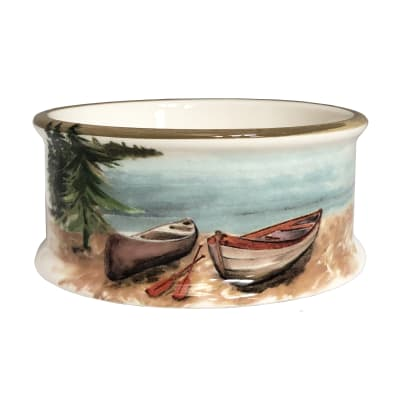 """Abbiamo Tutto """"A Day at the Lake"""" Ceramic Pet Bowl from Italy"""