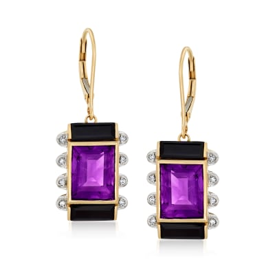 Black Onyx and 6.75 ct. t.w. Amethyst Drop Earrings with Diamond Accents in 14kt Yellow Gold