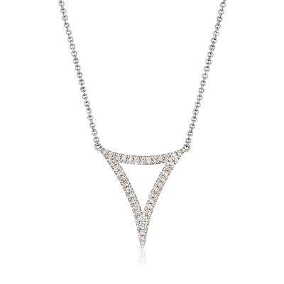 Gabriel Designs .25 ct. t.w. Diamond Open Triangle Necklace in 14kt White Gold