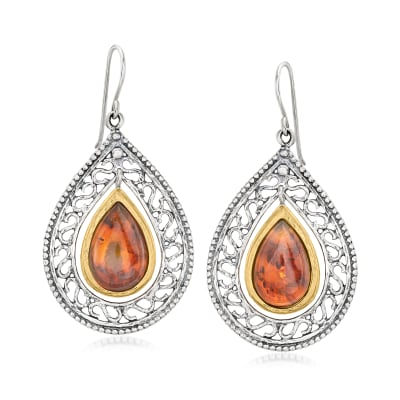 Amber Openwork Teardrop Earrings in 18kt Gold Over Sterling
