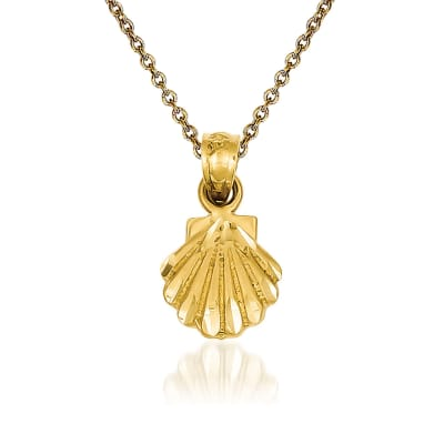 14kt Yellow Gold Scallop Shell Pendant Necklace