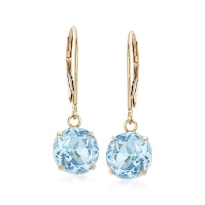 4.60 ct. t.w. Sky Blue Topaz Drop Earrings in 14kt Yellow Gold