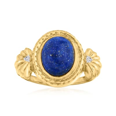 Lapis Ring with Diamond Accents in 18kt Gold Over Sterling
