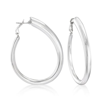 Italian Sterling Silver Teardrop Hoop Earrings