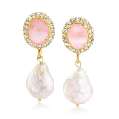 13-13.5mm Cultured Baroque Pearl and 1.00 ct. t.w. Rose Quartz Drop Earrings in 14kt Gold Over Sterling