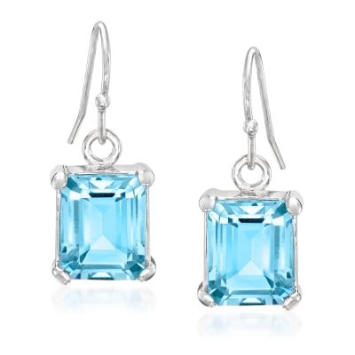 6.50 ct. t.w. Emerald-Cut Sky Blue Topaz Drop Earrings in Sterling Silver