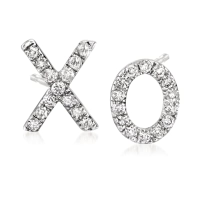 .10 ct. t.w. Diamond X/O Mismatched Earrings in 14kt White Gold