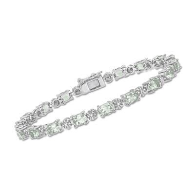 7.20 ct. t.w. Prasiolite and Diamond-Accented Bracelet in Sterling Silver