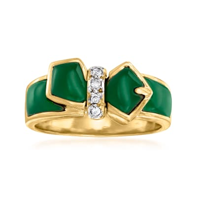 C. 1990 Vintage Carved Green Chalcedony Buckle Ring with Diamond Accents in 18kt Yellow Gold