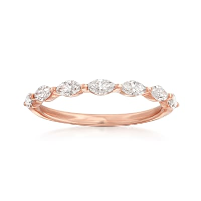 Henri Daussi .49 ct. t.w. Diamond Marquise Wedding Ring in 14kt Rose Gold