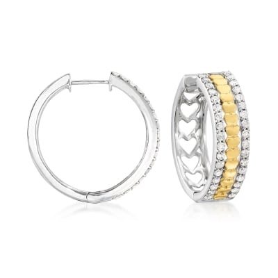 1.00 ct. t.w. Diamond Two-Tone Heart Hoop Earrings in Sterling Silver with 14kt Yellow Gold